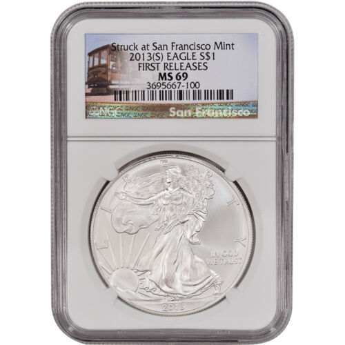 2013-(S) American Silver Eagle - NGC MS69 - First Releases - Trolley Label in Coins & Paper Money, Bullion, Silver | eBay