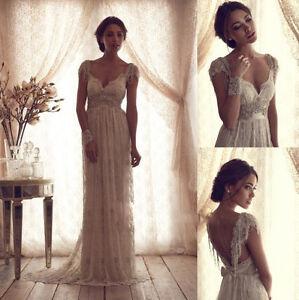 2014 new white ivory wedding dresses beads backless lace for Backless wedding dresses designer