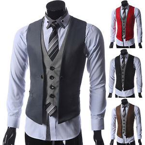 2015 neu billig herren weste clubwear party hochzeit anzug jacke hemd sakko vest ebay. Black Bedroom Furniture Sets. Home Design Ideas