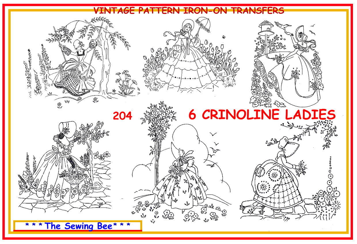 204 6 Crinoline Lady Embroidery Transfer Patterns