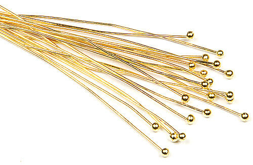 20pc 22k gold plated head pin 2 long 2mm ball 22 gauge for 22 gauge craft wire