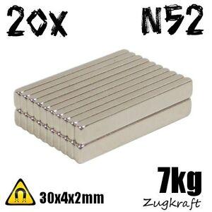 20x-Starke-Neodym-Magnete-30x4x2mm-7kg-Zugkraft-N52-Dauermagnet-kleine-Quader