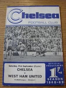 21-09-1968-Chelsea-v-West-Ham-United-Folded-Item-In-very-good-condition-unle