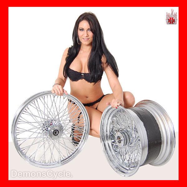 "21"" 18x10 5"" Chrome Rims Wheels 80 Spokes 300 Wide Tire Set Fits Custom Harley"