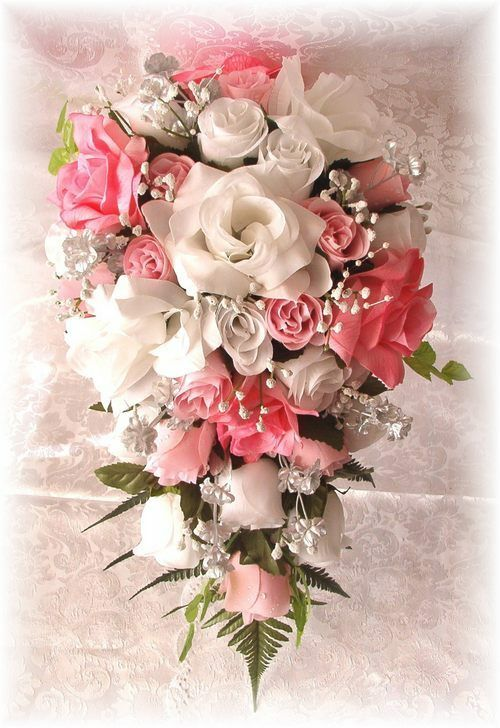 21pc Silk Wedding Bridal Bouquet Flower Set PINK White Silver