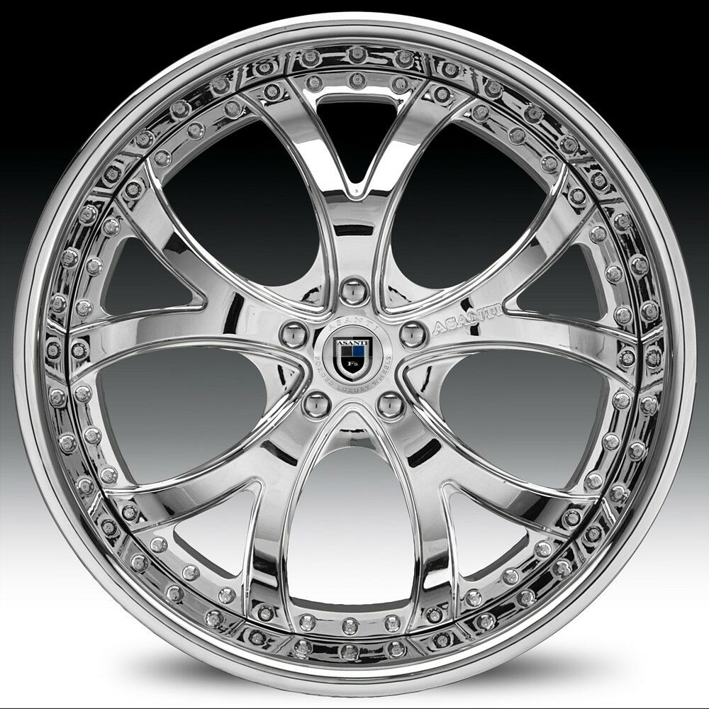 "22"" asanti AF143 AF 143 Chrome Multi 2 Piece 5 6 Lug Rims Wheels Tires Package"