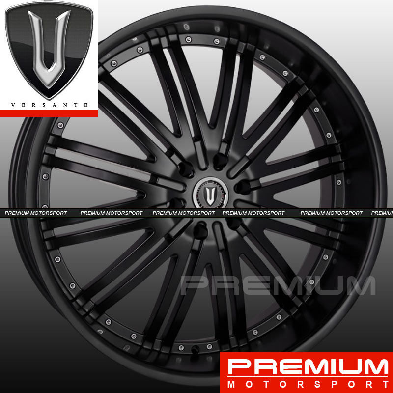22 inch Versante VE212 Wheels Chrysler 300C Dodge Matte Black Rims Wheels 5x115