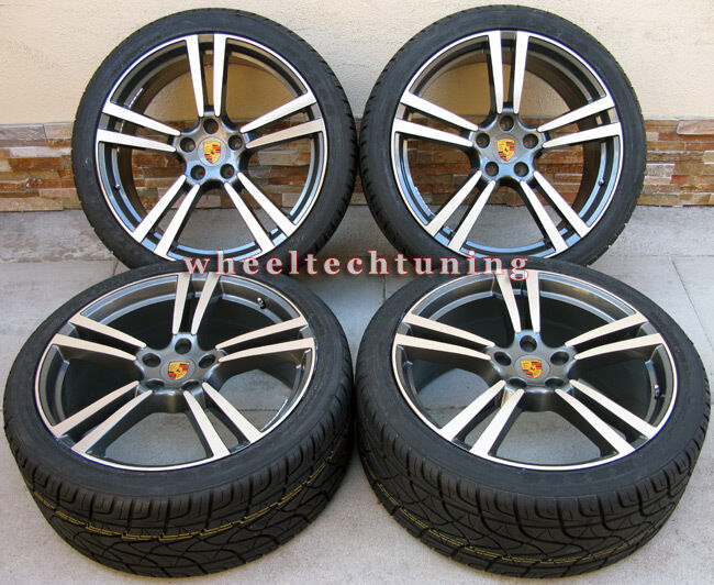 CAYENNE TURBO II STYLE WHEELS RIMS TIRES GUNMETAL WITH MACHINE FACE