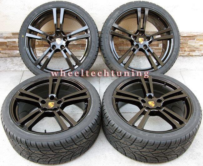 22 Porsche Panamera Turbo II Style Wheels Rims Tires Glossy Black New