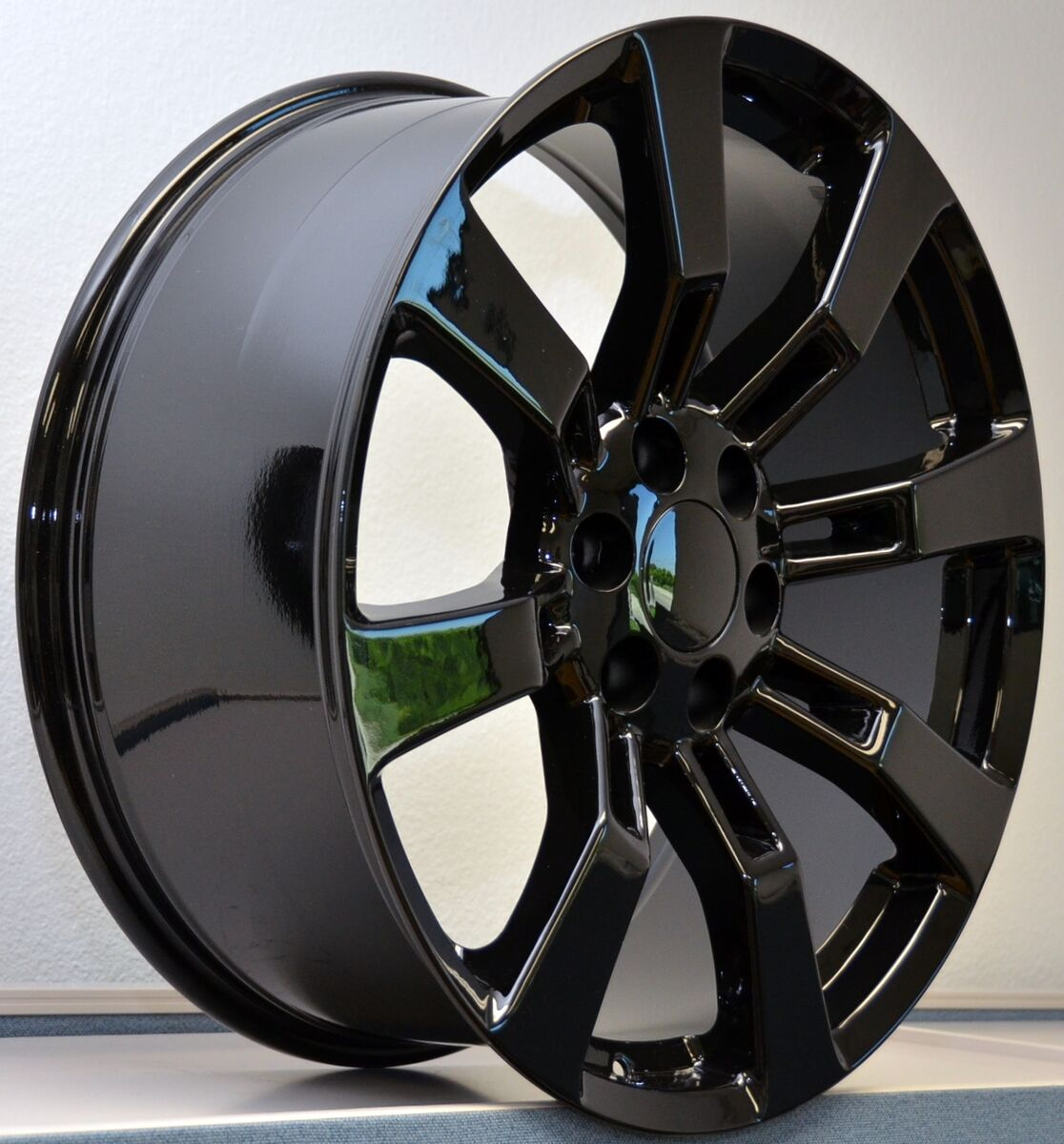 "22"" Tires Gloss Black Wheels Cadillac Escalade GMC Denali Rims Set Package Tahoe"