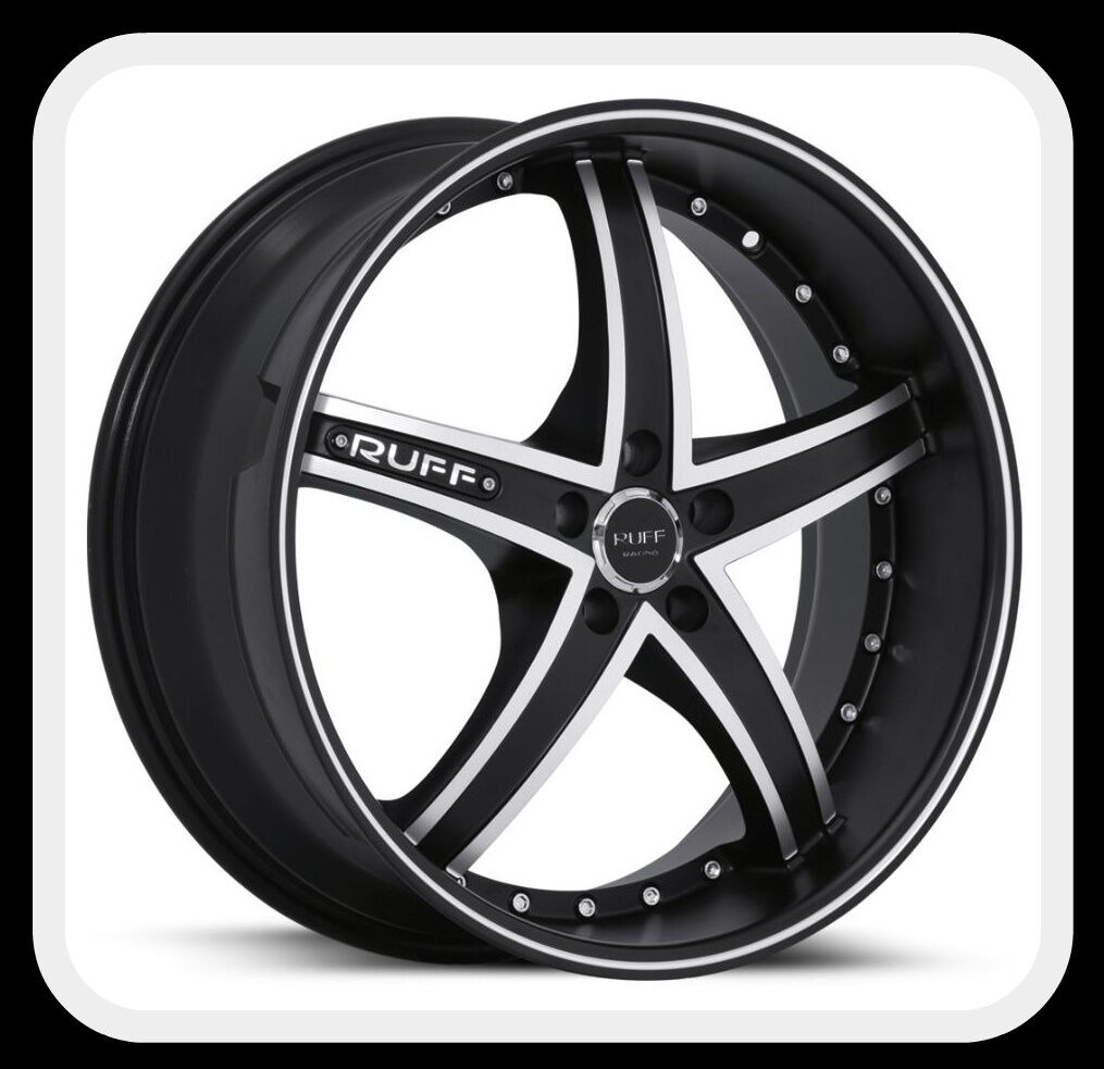 and 22 x 10 Ruff Racing R953 Black Machined Staggered Wheels Rims