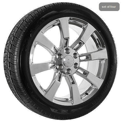 """22"""" inch Chrome Chevy Truck Silverado Tahoe Wheels Rims and Tires Package"""