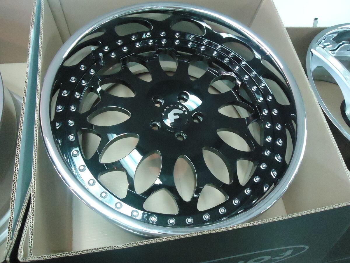 22x9 22x10 5 Forgiato Grano Black Chrome 2pc Wheels BMW 6 7 and Old Schools