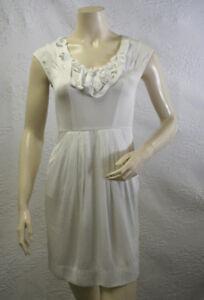 Bcbg White Dress on 238 Bcbg Off White Twisted Sleeveless Silk Dress 0   Ebay