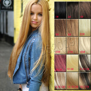 24 26 28 30 clip in real hair extensions black brown