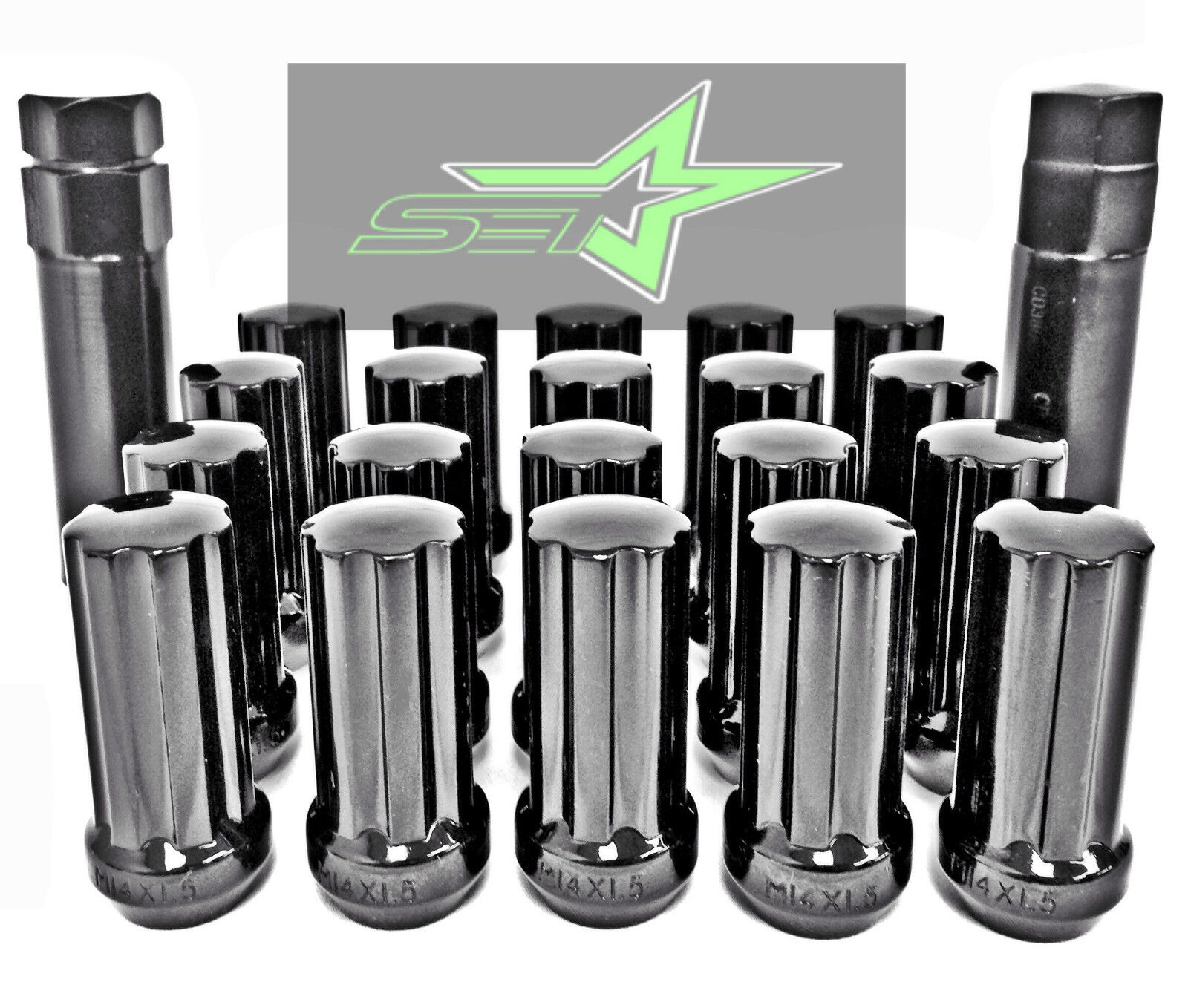 24 BLACK SPLINE LUG NUTS