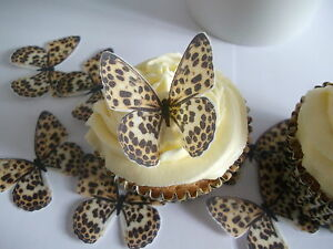 24 butterflies leopard print fab cupcake fairy cake for Animal print edible cake decoration