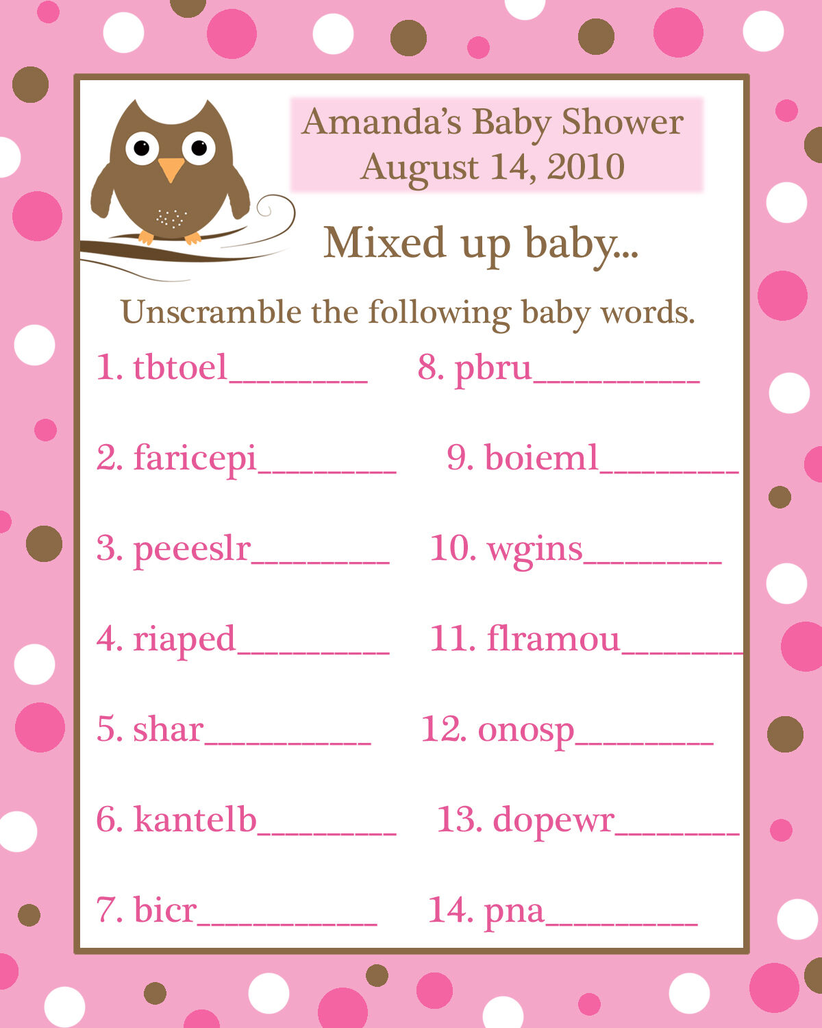 24 Baby Shower Word Scramble Game Cards PINK BABY OWL |