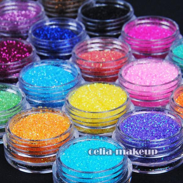 24 Color Metal Shiny Glitter Nail Art Tool Kit Acrylic UV Powder Dust Stamp 1007