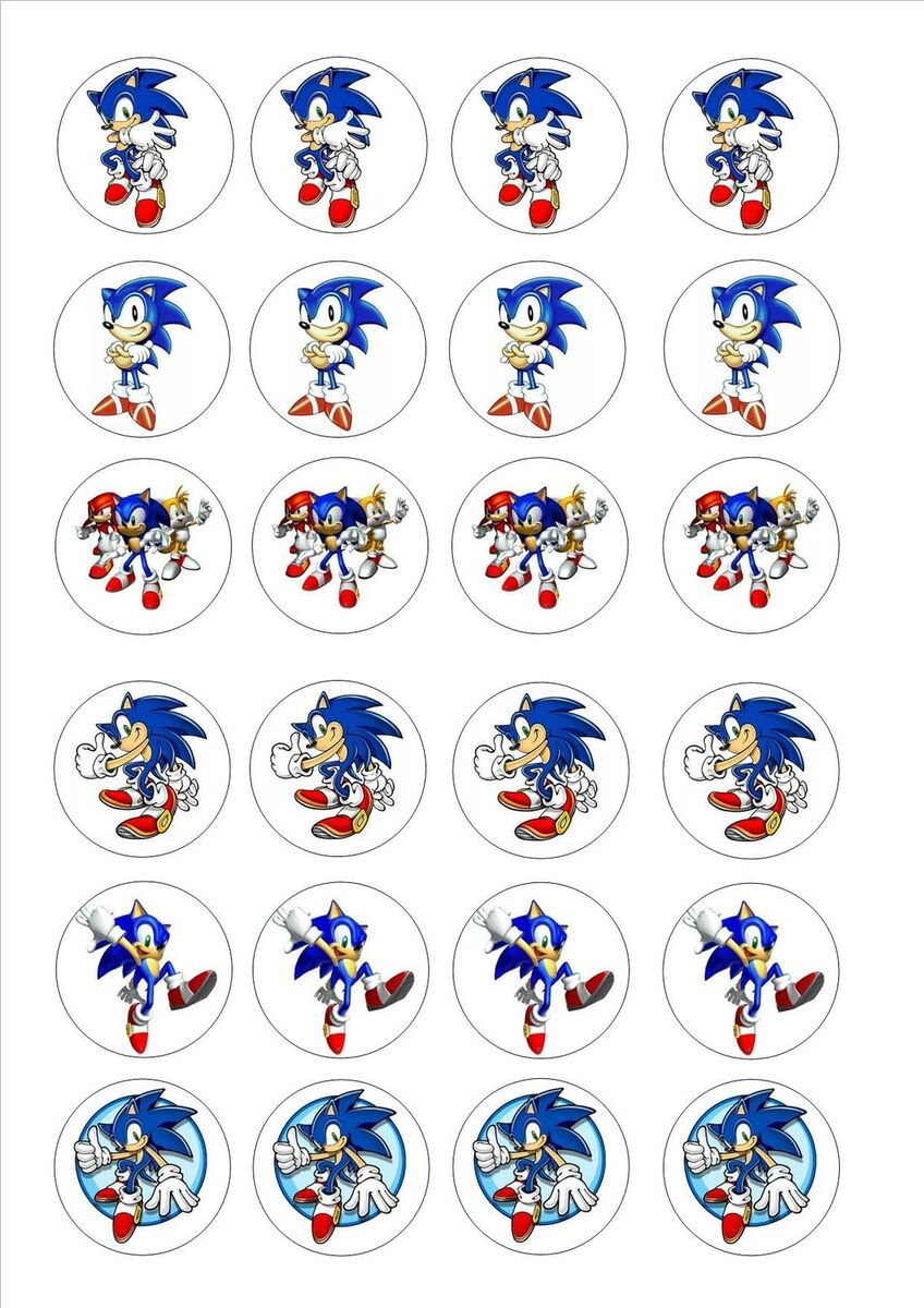 24 Edible Cake Toppers Decorations Sonic The Hedgehog
