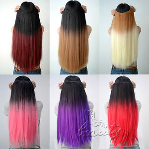24 glatt haare ombre dip dye clip in hair extensions haarverl ngerung farbwahl ebay. Black Bedroom Furniture Sets. Home Design Ideas