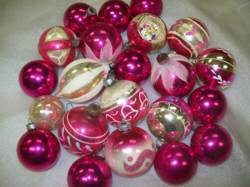 24 Vintage Shiny Brite- USA- Poland Pink Glass Christmas Ornaments in Collectibles, Holiday & Seasonal, Christmas: Vintage (Pre-1946) | eBay