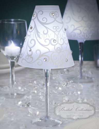 24 wine glass swirl vellum shades by david tutera wedding for Wine glass decorations for weddings