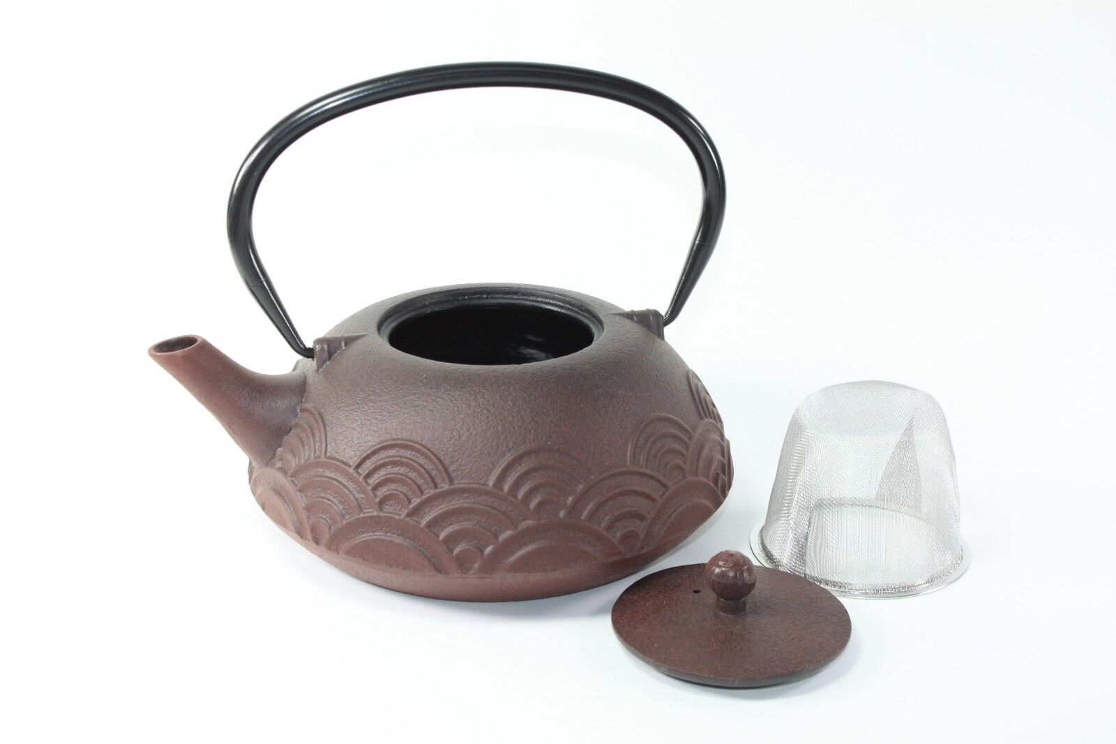 24 fl oz brown seamless wave japanese cast iron teapot tetsubin infuser filter ebay - Japanese teapot with infuser ...