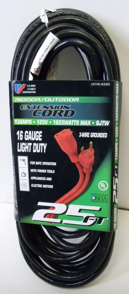 25' 16 Gauge Light Duty Black Indoor Outdoor Extension Cord