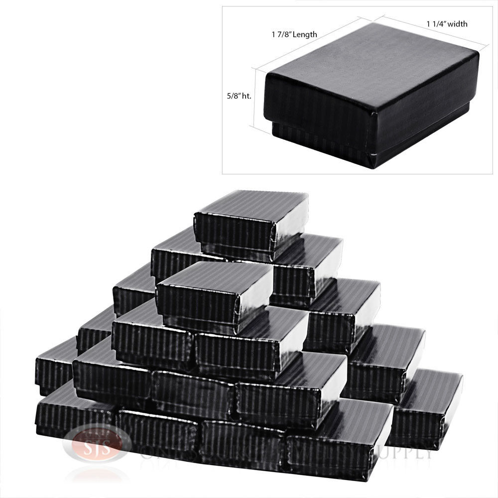 """100 Black Pinstripe Cotton Filled Jewelry Gift Boxes 2 5//8/"""" X 1 1//2/"""""""