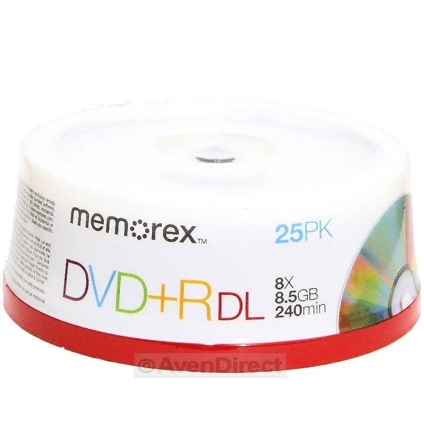 25 Memorex 8x Silver 8 5GB DVD R DL Double Dual Layer Via USPS