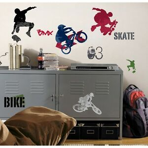 Sports wall decals skateboarding biking stickers boys room decor
