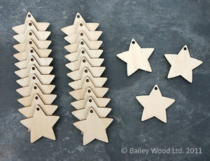 25-x-Wooden-Star-Shapes-With-Holes-Blank-Embellishments-Craft-Decorations-40mm
