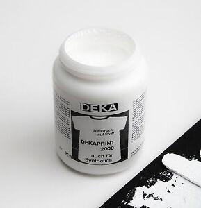 250ml-DEKA-Siebdruckfarbe-Deckweiss-Fuer-Siebdruck-auf-dunklen-T-Shirts-Stoffe