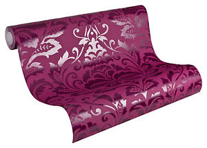 2554-33-1-Rolle-Design-Vlies-Tapete-FLOCK-Barock-Ornament-lila-violett