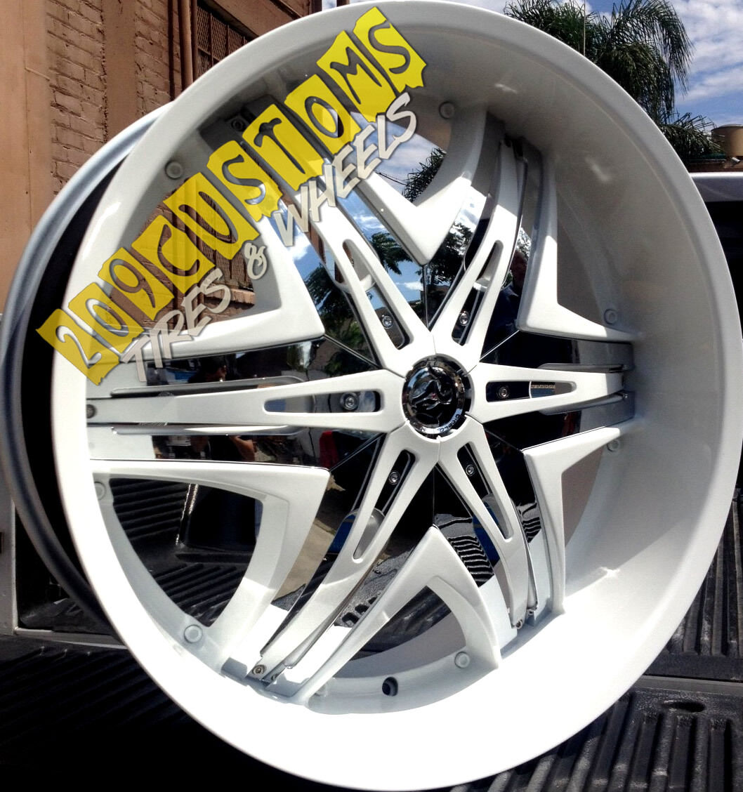 26 inch Wheels Rims Tires Diablo Elite White 6x139 7 Chevrolet Tahoe