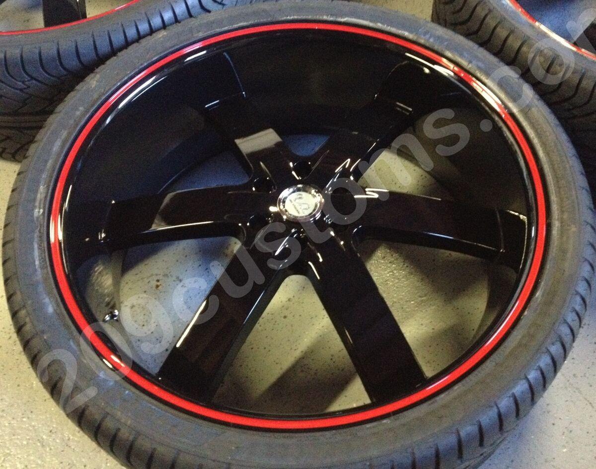 26 U255 Black Red Line Wheels Tires Rims Avalanche Escalade Tahoe