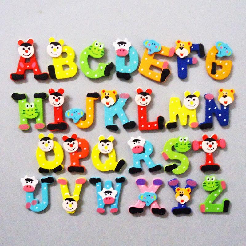 26pcs Cartoon Kids Wooden Alphabet Fridge Magnet Child Educational Toy