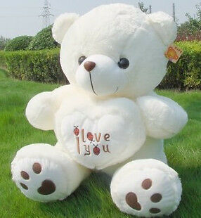 "27.5"" HUGE PLUSH BEETLE LOVE HEART TEDDY BEAR White 70CM Valentine's Day in Dolls & Bears, Bears, Other 