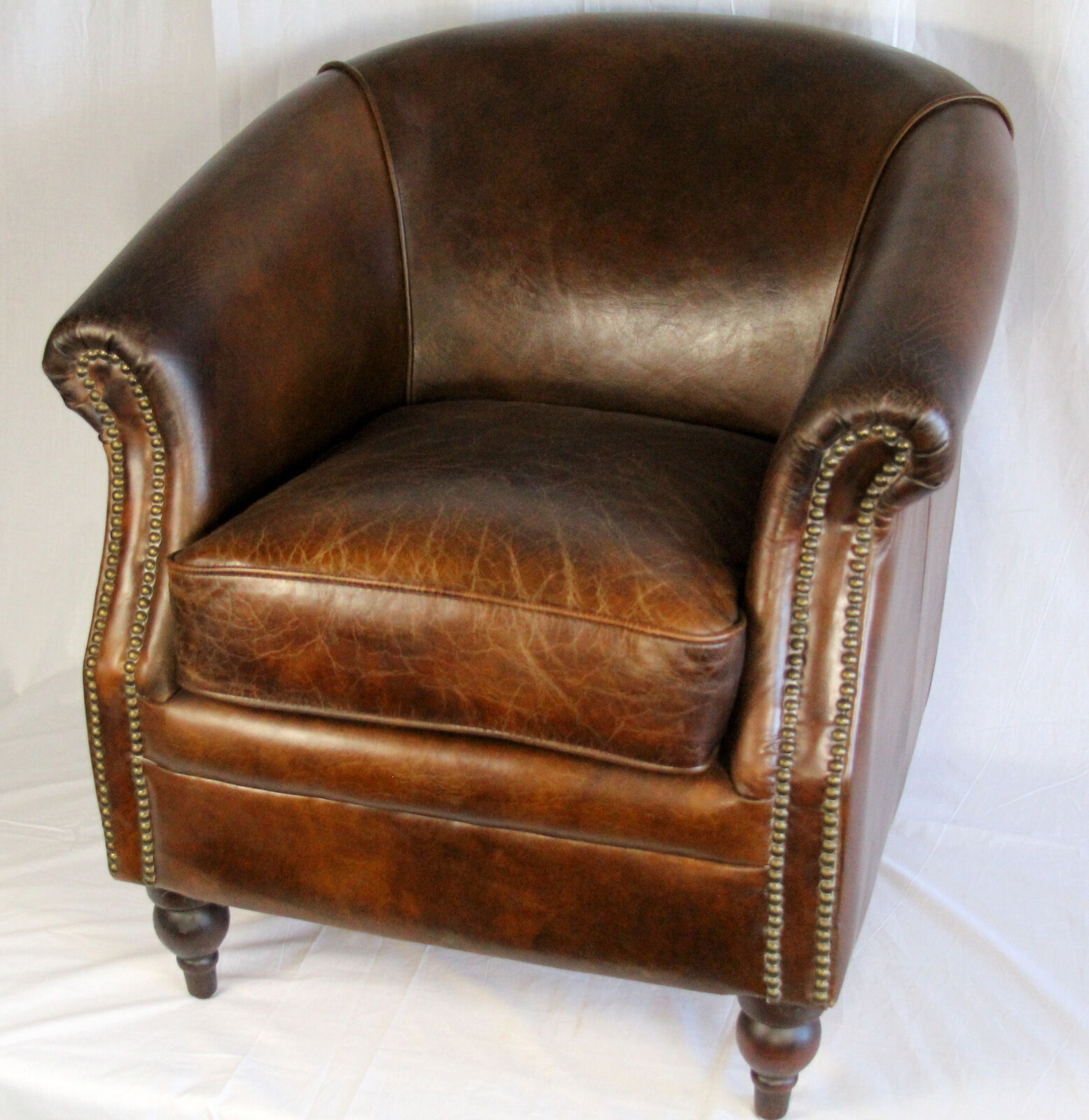 27 034 Wide Club Arm Chair Vintage Brown Cigar Italian