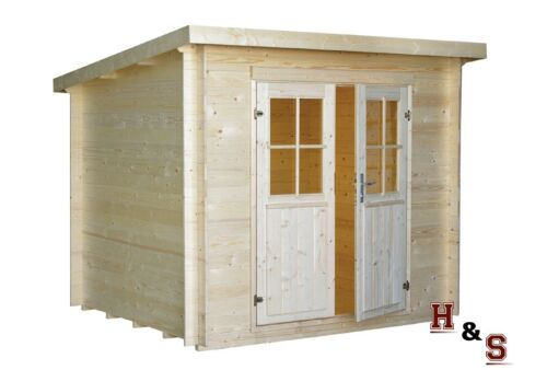 19 mm gartenhaus 250x220 cm ger tehaus schuppen blockhaus pultdachhaus holz neu ebay. Black Bedroom Furniture Sets. Home Design Ideas