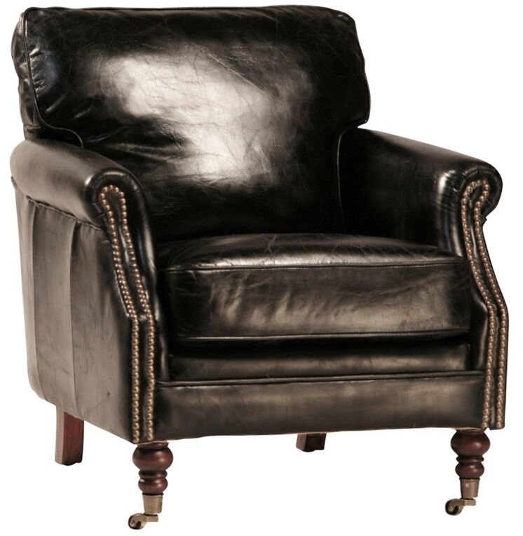 29 quot wide club arm chair vintage black italian leather comfort cool