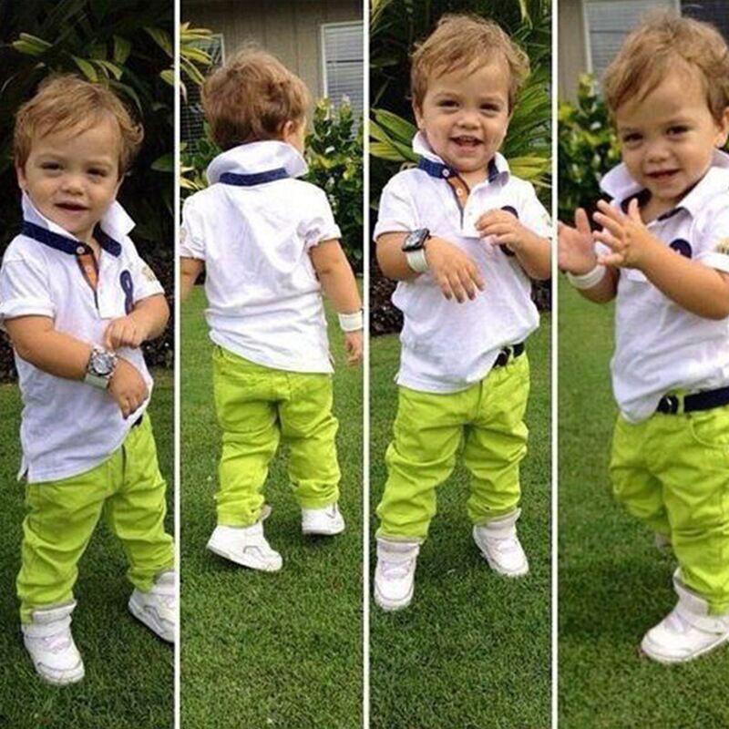 2Pcs Toddler Baby Boys Dress White Shirt Green Pants Set