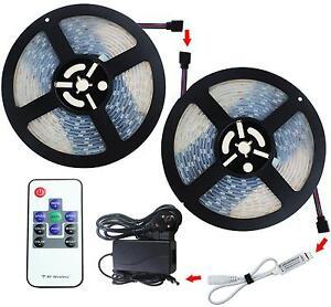 2X5M-10M-LED-3528-RGB-SMD-Streifen-Wasserdichte-Trafo-DC-12V-RF-Fernbedienung