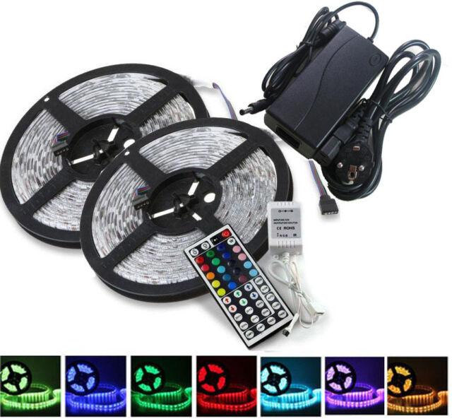 2x5m 10m led rgb 5050 smd streifen strip 44 key. Black Bedroom Furniture Sets. Home Design Ideas