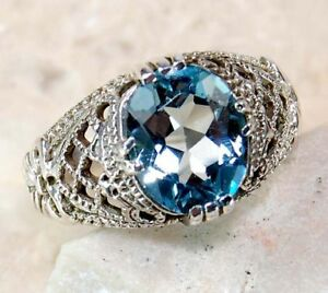 2ct Natural Aquamarine 925 Solid Sterling Silver Edwardian Style Ring Sz 6.5 in Jewelry & Watches, Vintage & Antique Jewelry, New, Vintage Reproductions | eBay
