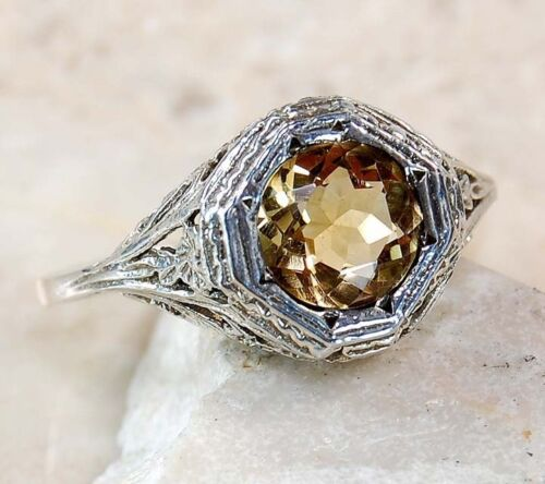 2ct Natural Citrine 925 Solid Sterling Silver Edwardian Style Ring Sz 6.5 in Jewelry & Watches, Vintage & Antique Jewelry, New, Vintage Reproductions | eBay