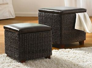 2er set flechttruhe sitz truhe hocker m stauraum w schetruhe spieltruhe ebay. Black Bedroom Furniture Sets. Home Design Ideas