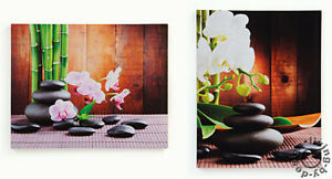 2er set wandbilder orchidee bambus stein blumen feng shui wellness bild 40x50cm ebay. Black Bedroom Furniture Sets. Home Design Ideas