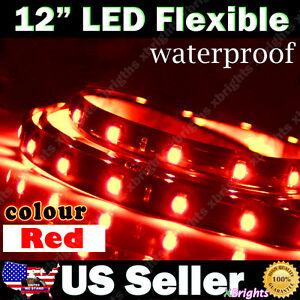 2pcs 12 Flexible 15 Smd Led Strip Car Interior Footwell Lights Brilliant Red Ebay